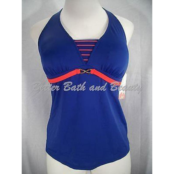 Tropical Escape Misses Halter Tankini Swim Suit Top 8 Blue & Orange Stripe NWT - Better Bath and Beauty