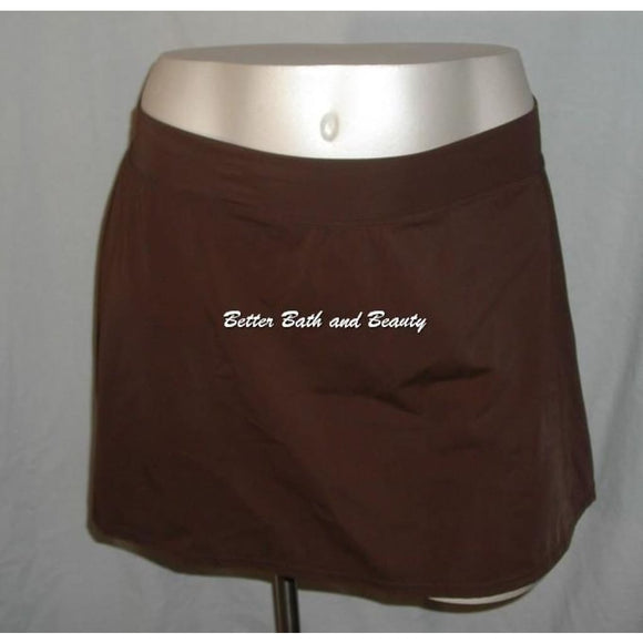 Tropical Escape Plus Size Swim Skirt Skirtini Swim Suit Bottom Size 24W Brown - Better Bath and Beauty