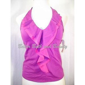 Tropical Escape Ruffled Deep Plunge Halter Tankini Swim Suit 12 Purple Pink NWT - Better Bath and Beauty