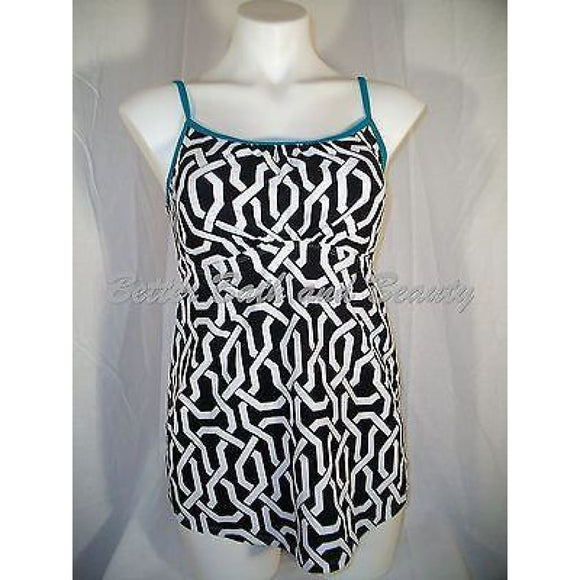 Two Hearts Maternity Swim Suit Tankini Top SMALL Black & White Green Trim - Better Bath and Beauty