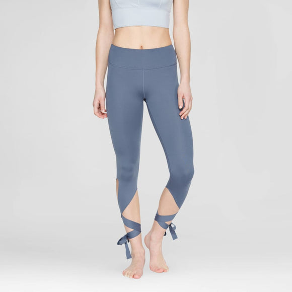 Velvet Rose Women's Tie Up Capri Leggings MEDIUM Slate Gray - Better Bath and Beauty