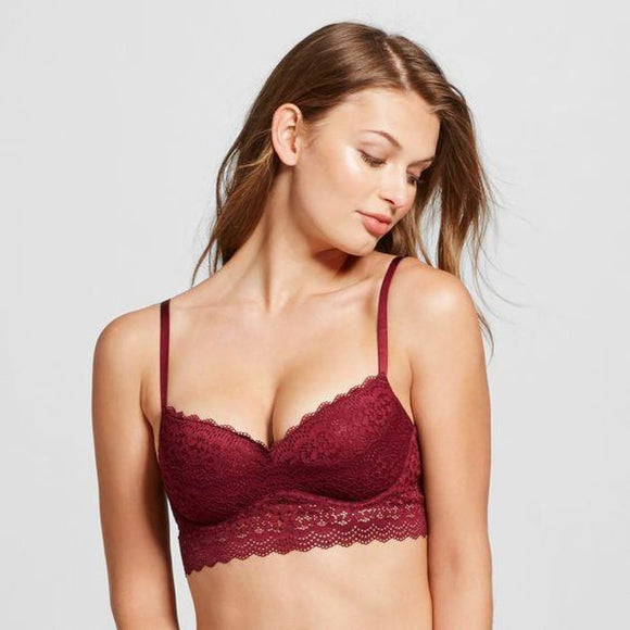 Xhilaration Long Line Lace Push-Up Underwire Bra 32AA Boysenberry Red NWT - Better Bath and Beauty