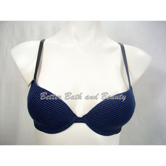 Xhilaration Perfect Cotton T-Shirt Lightly Lined Plunge Underwire Bra 32A Blue & Black Stripes - Better Bath and Beauty
