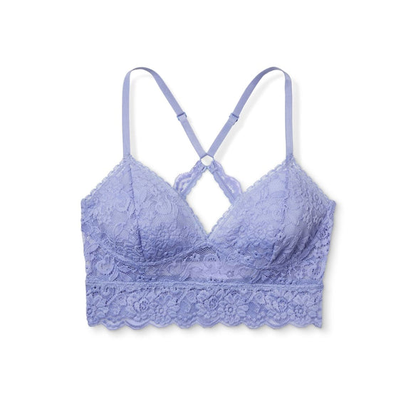 34effcddde5ea Xhilaration Wire Free Racerback Sheer Lace Bralette SMALL Periwinkle Blue  NWT - Better Bath and Beauty