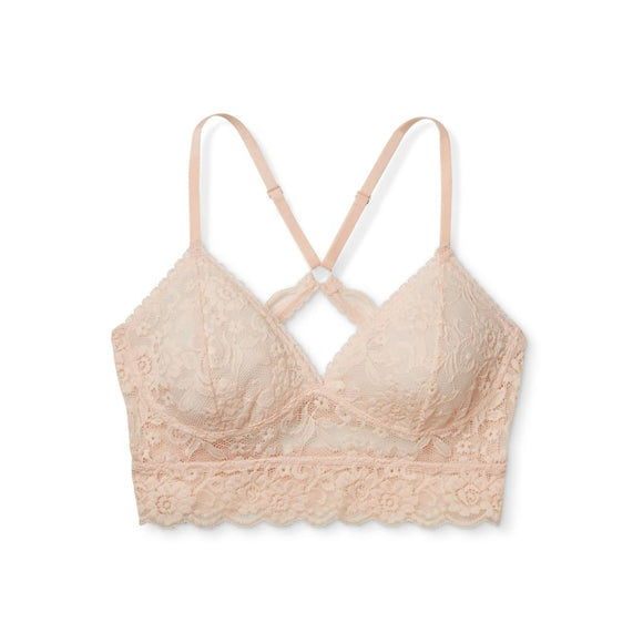 Xhilaration Wire Free Racerback Sheer Lace Bralette XS X-SMALL Feather Peach - Better Bath and Beauty