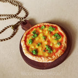 miniature pizza necklace