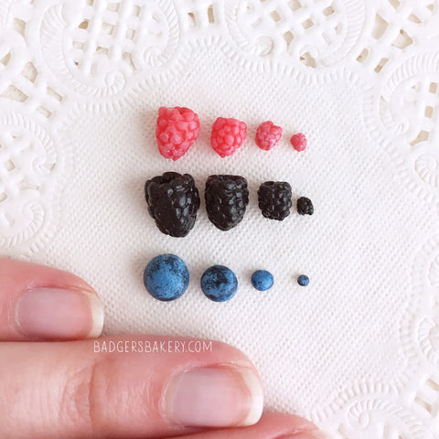 MINIATURE BERRIES 6 pcs, Raspberries, Blackberries, Blueberries ANY SCALE for Dolls and Dollhouses