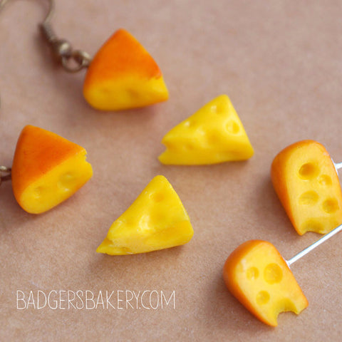 Tiny CHEESE EARRINGS, Dangle or Post, Food Miniature Jewelry, Cheese Studs