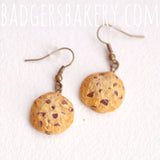 chocolate chip cookie earrings