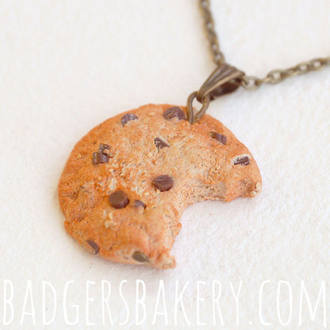 chocolate chip cookie pendant - with bite