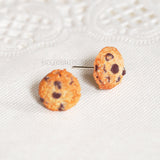 Tiny COOKIE STUDS, Chocolate Chip Cookie Earrings, Food Miniature Jewelry
