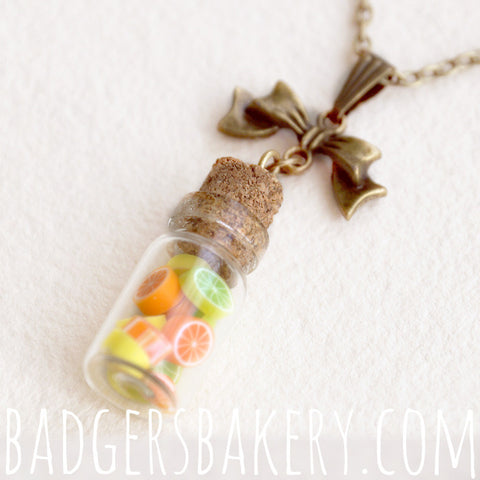 miniature candy bottle pendant