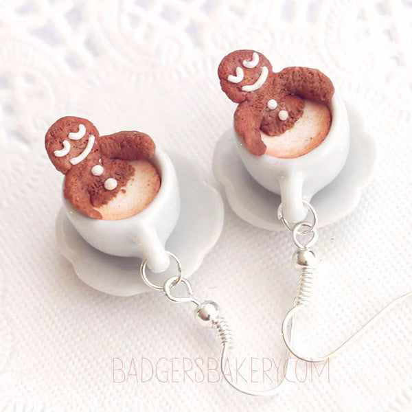Gingerbread Spa Earrings Tiny Gingerbread Cappuccino