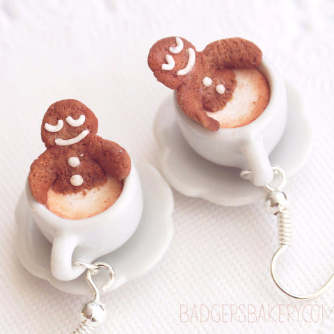 gingerbread cookie coffee cup earrings