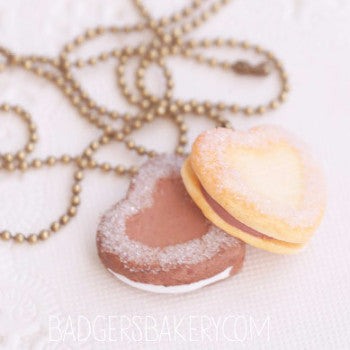 layered heart cookie necklace