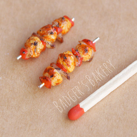 1/12 dollhouse scale chicken kabob