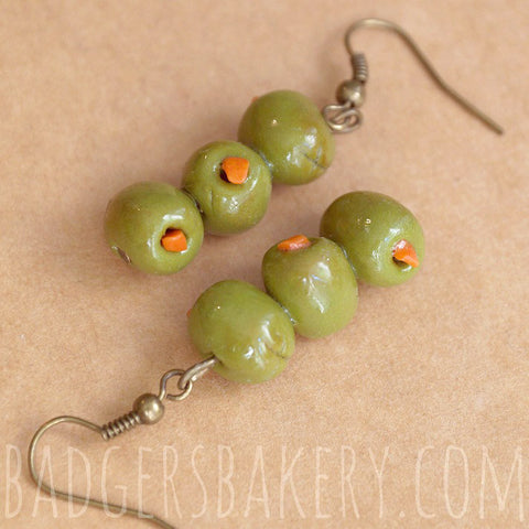 martini olives earrings