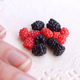 miniature raspberries and blackberries in 1/4 scale