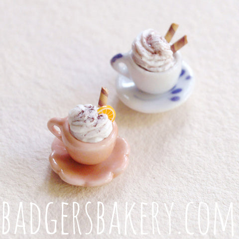 miniature cups - beige, patterned white
