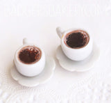 miniature coffee cups, black