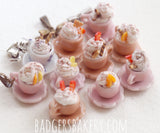 miniature cups in beige and pink
