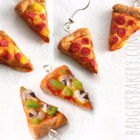 miniature pizza earrings - pepperoni, hawaiian, vegetarian