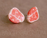 raw steak stud earrings