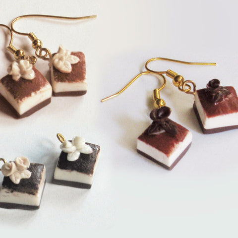 tiramisu cake earrings