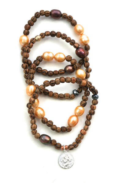 Wood and Pearl Bracelets