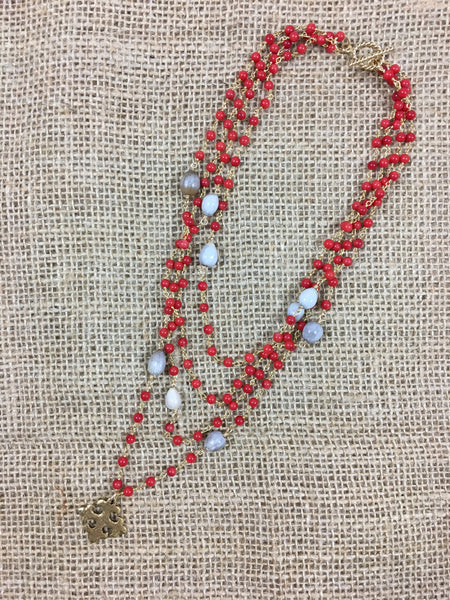 Christiana Necklace in Red Coral