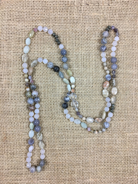 Kitchen Sink Necklace in White Agate/Grays