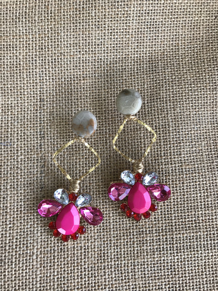 Triple Step Earrings in Neon Pink