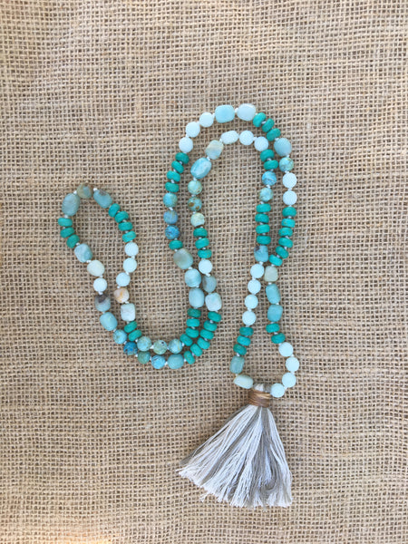 Two-Tone Tassel Necklace in Blues