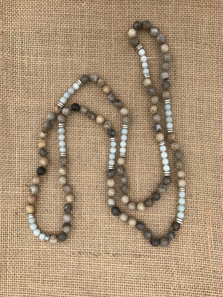 Loren Necklace in Fossil Coral/Amazonite
