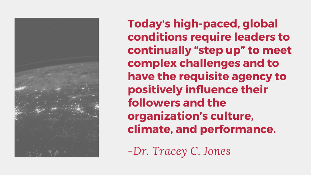 today's high paced global conditions require leadership to continually step up to meet complex challenges and to have the requisite agency to positively influence their followers and the organization's culture, climate, and performance.