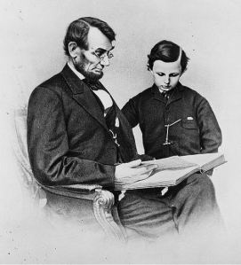 president-abraham-lincon-reading-with-his-last-son