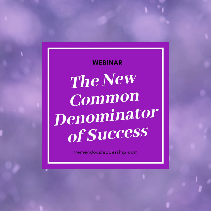 Webinar - The New Common Denominator of Success