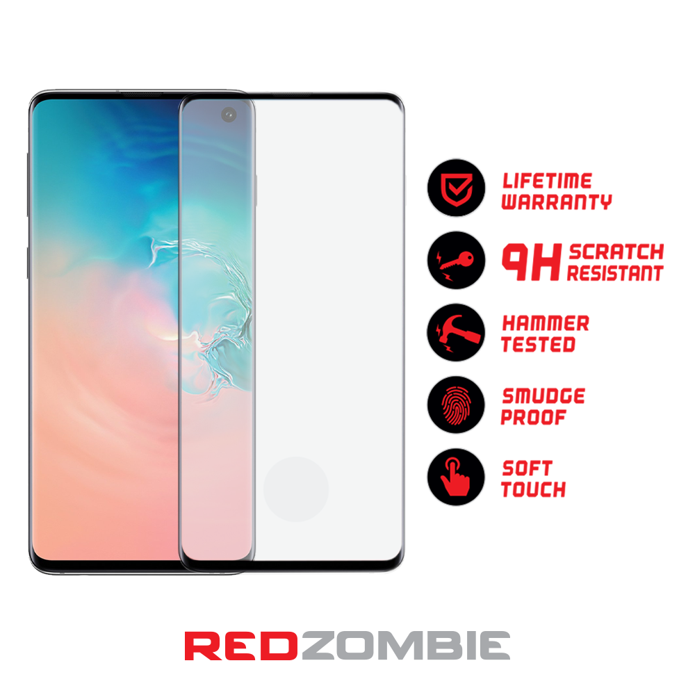Samsung Galaxy S10 - Tempered Glass Screen Protector - 3D Curved - Full  Coverage - Side Adhesive