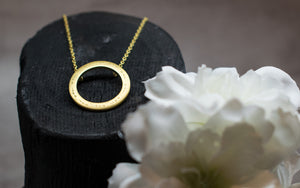 Gold Soundwaves Collection Shoot for the Moon Necklace