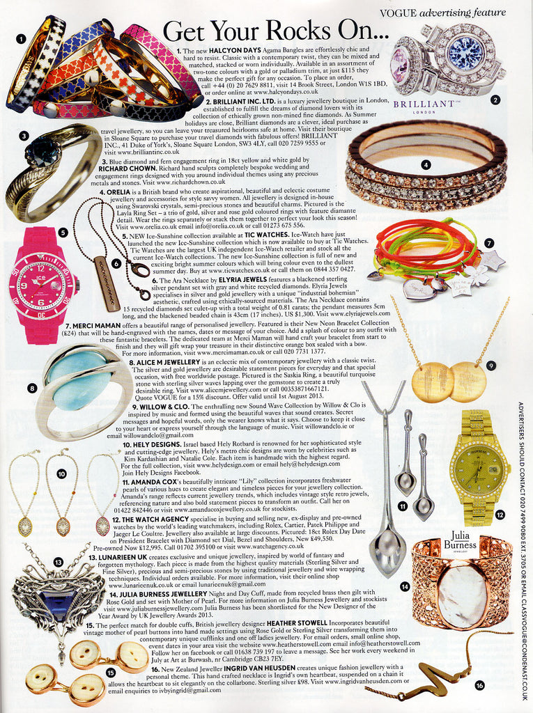 Vogue features Willow & Clo jewellery