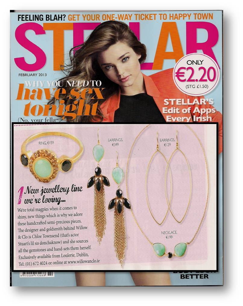 Willow & chrysoprase and black onyx stories featured in Stellar, February 2013