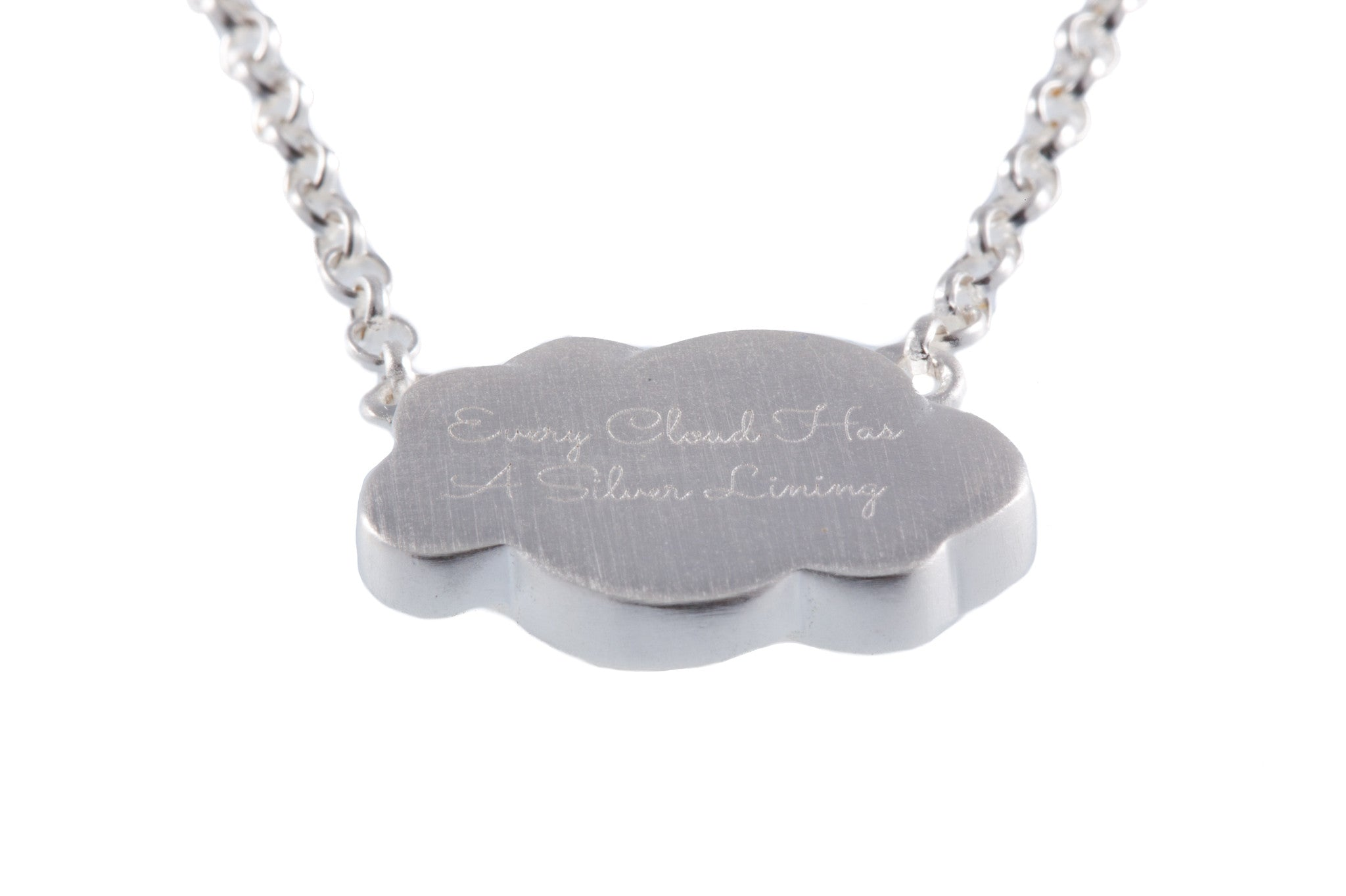 Silver Gold Cloud Pendant inscribed 'Every Cloud has a Silver Lining'