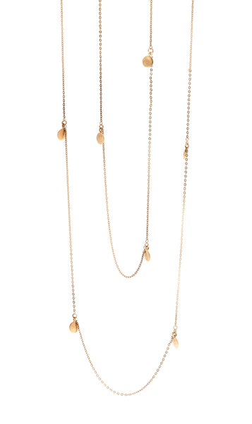 22kt Gold Plated Vermeil Wrap Necklace with tiny discs from the Soundwaves Collection