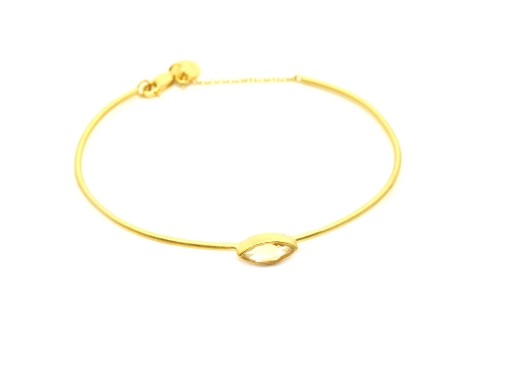 Citrine Gemstone Gold Bangle