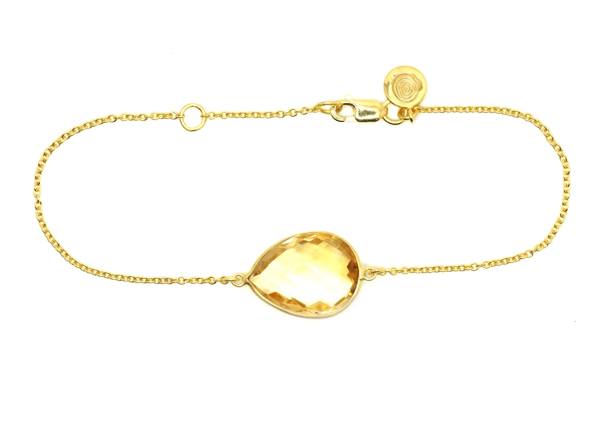 Citrine Gem Gold Bracelet