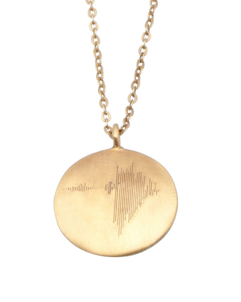 22KT Gold Plated Necklace with a Disc inscripted with the soundwave' strength from the Soundwaves Collection