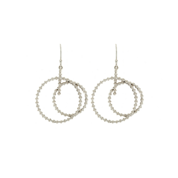 Etna Double Circle Drop Earrings in Silver