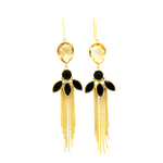 Citrine Gem Gold Dangle Earrings