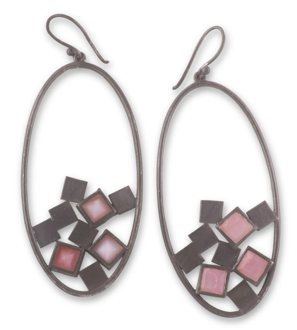 Gunmetal Sterling Silver Earrings with Pink Opals