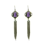 Gunmetal Earrings with Purple Quartz